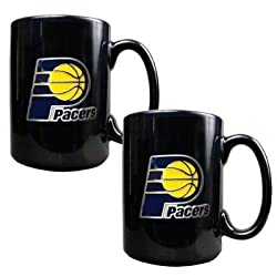 Indiana Pacers 2pc Black Ceramic Mug Set - Primary Logo NBA Basketball