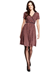 M&S Collection Half Spotted Wrap Dress with StayNEW™