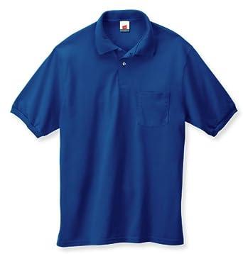 Hanes 5.2 oz.; 50/50 EcoSmart� Jersey Pocket Polo - DEEP ROYAL - S