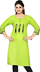 Clickedia Girl's & Women's faux Cotton Green Panihari Print Kurti