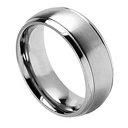 Free Engraving -8Mm Titanium Wedding Band Ring Brushed Center Shiny Grooved Edge (9.5)