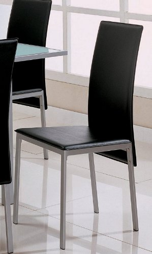 Coaster Leather Dining Chairs, Black-Bonded, Silver Metal Finish, Set of 4