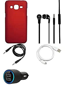 NIROSHA Cover Case Car Charger Headphone USB Cable for Samsung Galaxy J3 - Combo