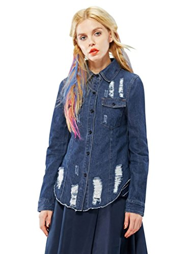 Elf Sack Womens Autumn Blouse Washing Denim With Holes Preppy Style Medium Size Blue