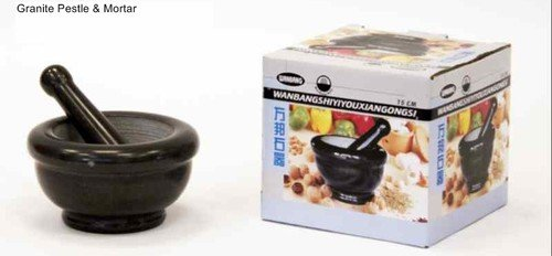 "Black Polished Marble Mortar & Pestle - 6"" 15cm"