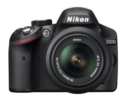 Nikon D3200 24.2 MP CMOS Digital SLR with 18-55mm f/3.5-5.6 Auto Focus-S DX VR NIKKOR Zoom Lens (Black)
