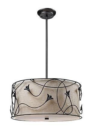 Elk 20170/3 Wireform 3-Light Pendant In Dark Rust With Floral Pattern