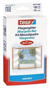 tesa 55672-00020-01 Insect Stop Fliegengitter standard für Fenster 1.3 m x 1.5 m, weiß