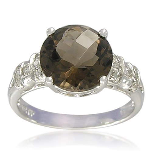 Sterling Silver Round-Shaped 10mm Smoky Quartz Ring, Size 6