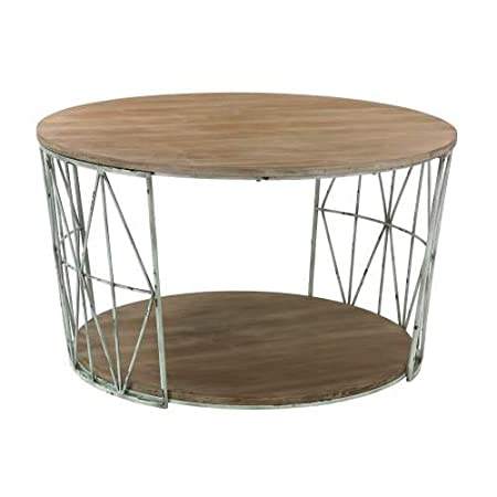 Round Wood and Metal Coffee Table in Natural Oak Finish