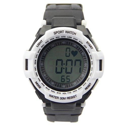 Alike Sporty Waterproof Digital Electronic Heart Rate Waistband Watch White