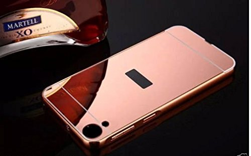 D-kandy Aluminum Metal Bumper with PC Mirror Back Cover Case For Htc Desire 828 /828 Dual Sim - ROSE GOLD