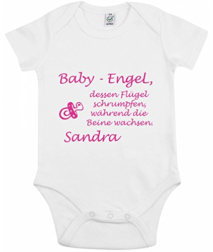 kurzarm baby body mit name spruch baby engel. Black Bedroom Furniture Sets. Home Design Ideas