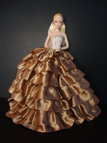 A Real Stunner in Brown with Layers of Ruffles Made to Fit the Barbie Doll - 1