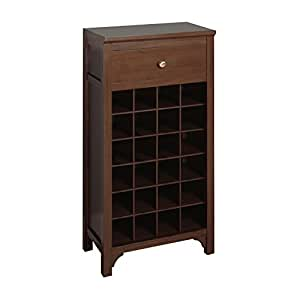 Winsome Trading Winsome Wood Wine Cabinet Walnut Kitchen Dining