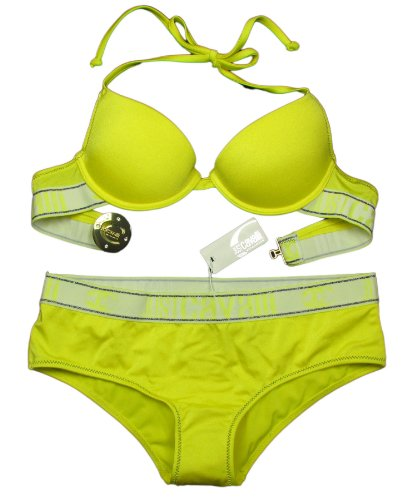 "JUST CAVALLI ""Giant Logo"" Damen mit Logo push-up Bikini Wet-look mit Strass (Gelb/Gold) S / 34-36 (de)"