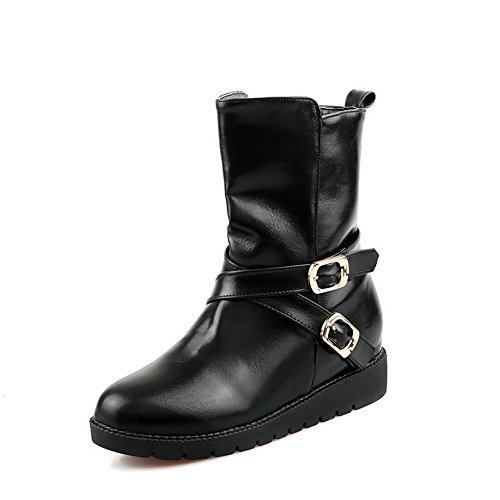 VogueZone009 Womens Closed Round Toe Mid Heel Soft Material PU Boots with Zipper and Heighten Inside..