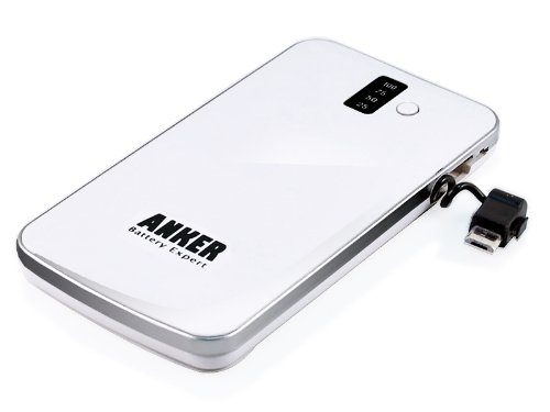 Anker® SlimTalk 3200mAh Backup External Battery Pack Charger with Embedded Micro-USB and Flashlight for iPhone 5 4S 4 3GS 3G, iPod Touch Classic Nano; Android Phones: Samsung Galaxy S3 SIII I9300, Galaxy S2 S II I9100, Galaxy Nexus, Galaxy Note / HTC One X One S Sensation, EVO, ThunderBolt / Motorola Droid Razr / Nokia N9 Lumia 800 900 - White [Ultra Slim 0.4 Inch Profile]