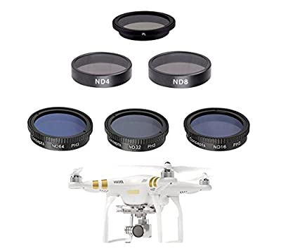 Complete Filter Set for DJI P4 P3A P3P DJI Phantom 4 Phantom 3 Advanced Professional Quadcopter 4K UHD Video Camera Drone Kit Includes: Polarizer, Neutral Density ND4 ND8 ND16 ND32 ND64 Filters