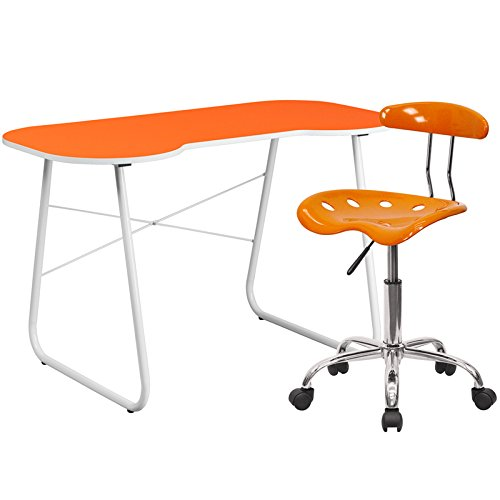 Flash Furniture Computer Desk And Tractor Chair, Orange