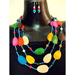 Multicolored wooden bead set