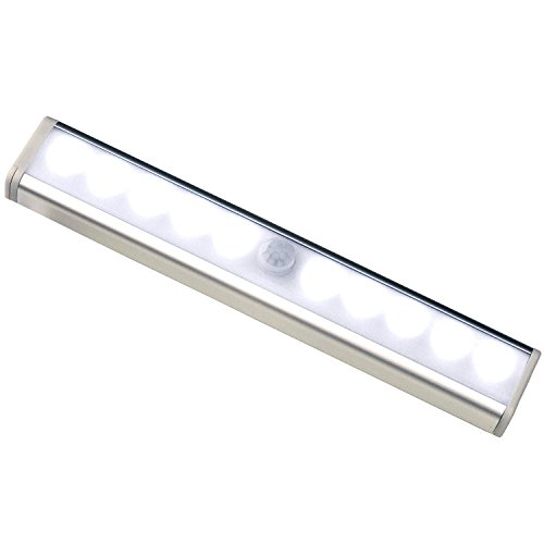 Xboun Stick-on Anywhere Portable 10-LED Wireless Motion Sensing Light Bar - Battery Operated Lights with Magnetic Strip for Cabinet LED Night Light / Stairs Light / Step Light Bar (White Light) (Kitchen Cabinet Light Switch compare prices)