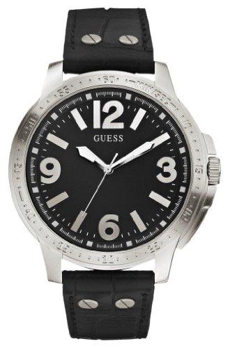 GUESS  Pumped Up Black - Reloj de cuarzo para hombre, con correa de cuero, color negro