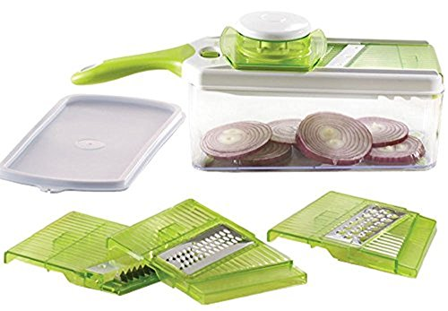 Native Spring Adjustable Mandoline Slicer Container and Lid with 4 Blades Cheese Vegetable Cutter Peeler Grater and Julienne Perfect Food Prep Tool (Mandolin Slicer Set compare prices)