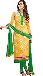 JJR Store Designer Yellow Cotton Embroidered Dress material