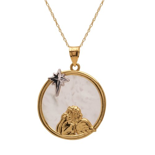 10k Yellow Gold Polished Diamond-Cut Angel with North Star Pendant Necklace, 18
