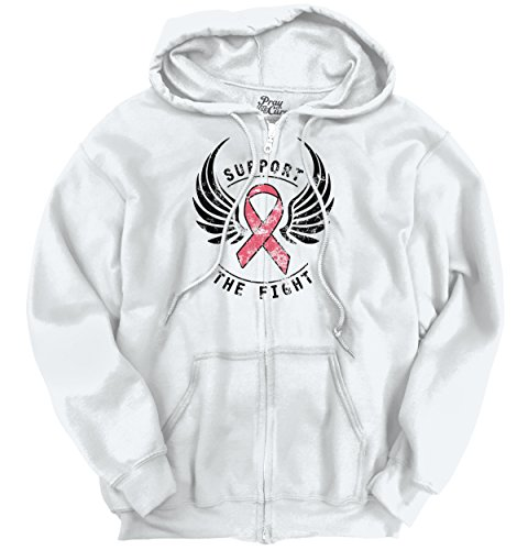 Breast Cancer Awareness Support The Fight Pink Ribbon Wings Zip Hoodie