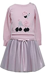 Bonnie Jean Girls POODLE Pink Sweater & Skirt Holiday, Pink, 5