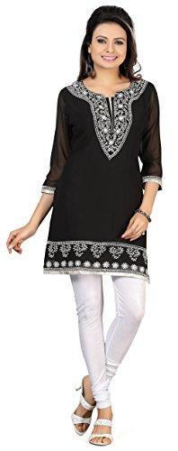 India Tuniche Kurti Top Camicetta Delle Donne India Abbigliamento (Nero, XXL)