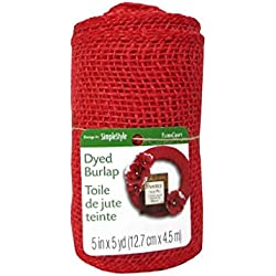 Floracraft FLORS212 Floracraft Ribbon Burlap Roll - Red, 5 In. x 5 Yd.