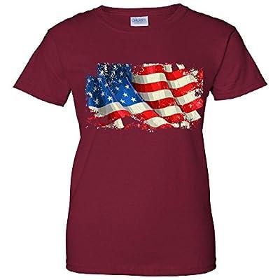 USA Distressed Waving American Flag Women's T-Shirt