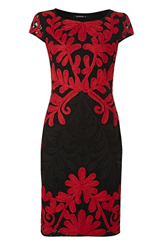 Womens Tapework Embroidered Lace Dress - Ladies - Red - Size 10 12 14 16 18 20
