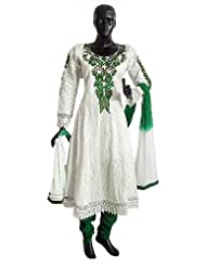 Green Parsi Embroidered Neckline On Off-White Self Design Cotton Full Sleeve Anarkali Kurta With Green Churidar...