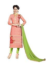 Women's Peach & Green Embroidered Chanderi Semi Stitched Salwar Suit