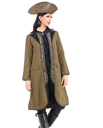 Angelica Pirate Renaissance Medieval Womens Costume Suede Coat with Vest Decoration