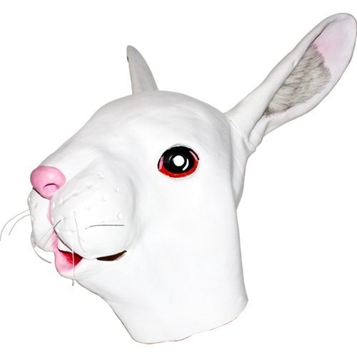 Realistic White Rabbit Mask: Full Face Rubber Latex Albino Bunny Mask