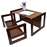 3 in 1 Children's Multifunctional Furniture Set of One Multifunctional Table and One Multifunctional Bench or Adult's Multifunctional Nest of Two Coffee Tables, Solid Beech Wood Dark Varnish
