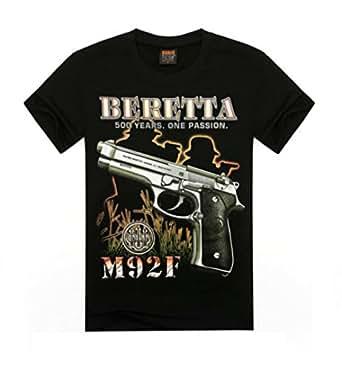 Amazon.com: Custom 3D Beretta M92F Gun Face Men's Cotton Short T-shirt