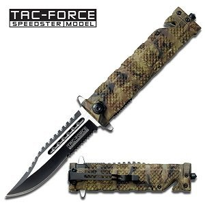 TAC Force TF-710JC Liner Lock Assisted Opening Folding Knife, Two-Tone Half-Serrated Blade, Jungle Camo Handle, 5-Inch Closed