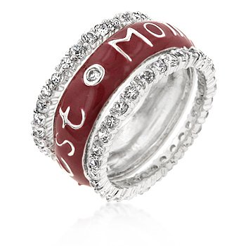 White Gold Rhodium Bonded Eternity Band with Round Cut Clear CZ Accents and a Best Mom Script with Red Enamel in a Bezel and Prong Setting in Silvertone