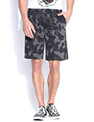BLUE WAVE MEN'S BLACK AND BLUE CAMO PRINTED SHORTS