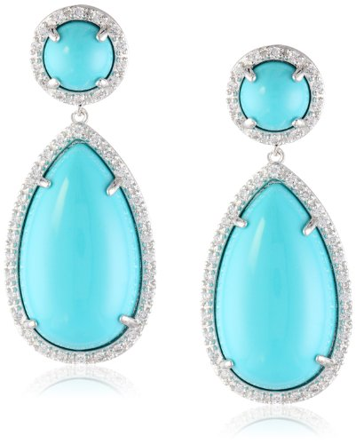 "Cz By Kenneth Jay Lane ""Trend"" Reconstituted Turquoise And Cubic Zirconia Dangle Earrings"