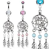 Stainless Steel Dream Catcher Net with Bead Based Feathers Fancy Navel Ring; Comes With Free Gift Box