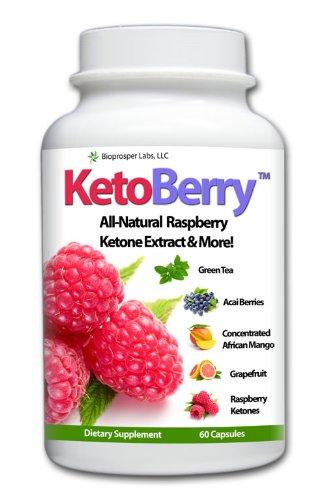 Ketoberry 300Mg Raspberry Ketones Extract With African Mango (Irvingia Gabonesis), Resveratrol, Acai Berry + Caffeine
