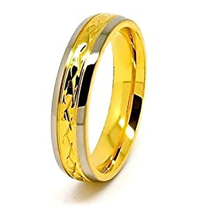 6mm Golden Coloured Center Facet Titanium Ring Wedding Band Size O ½