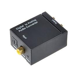 Flashmen Digital Optical Coaxial Toslink Signal to Analog Audio Converter Adapter RCA L/R Black